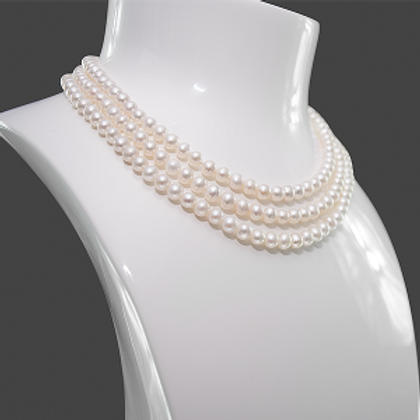 Necklace 7mm Pearls 3 String