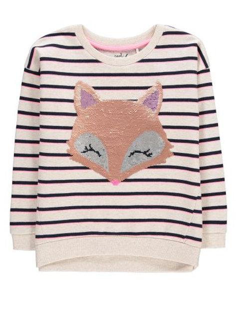 Striped Sequin Fox Sweater