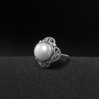 Beautiful Silver Ring With 10mm Pearl