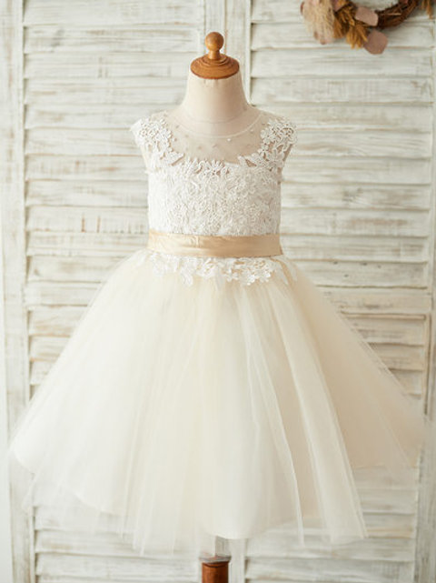 A-Line Knee-length Flower Girl Dress - Tulle/Lace Sleeveless Scoop