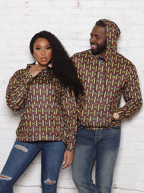 Masego African Print Pull Over Hoodie Clearance