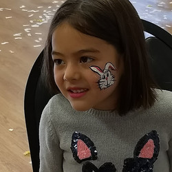 Bunny face painted at the Bunny Hop Breakfast in San Carlos, 2018