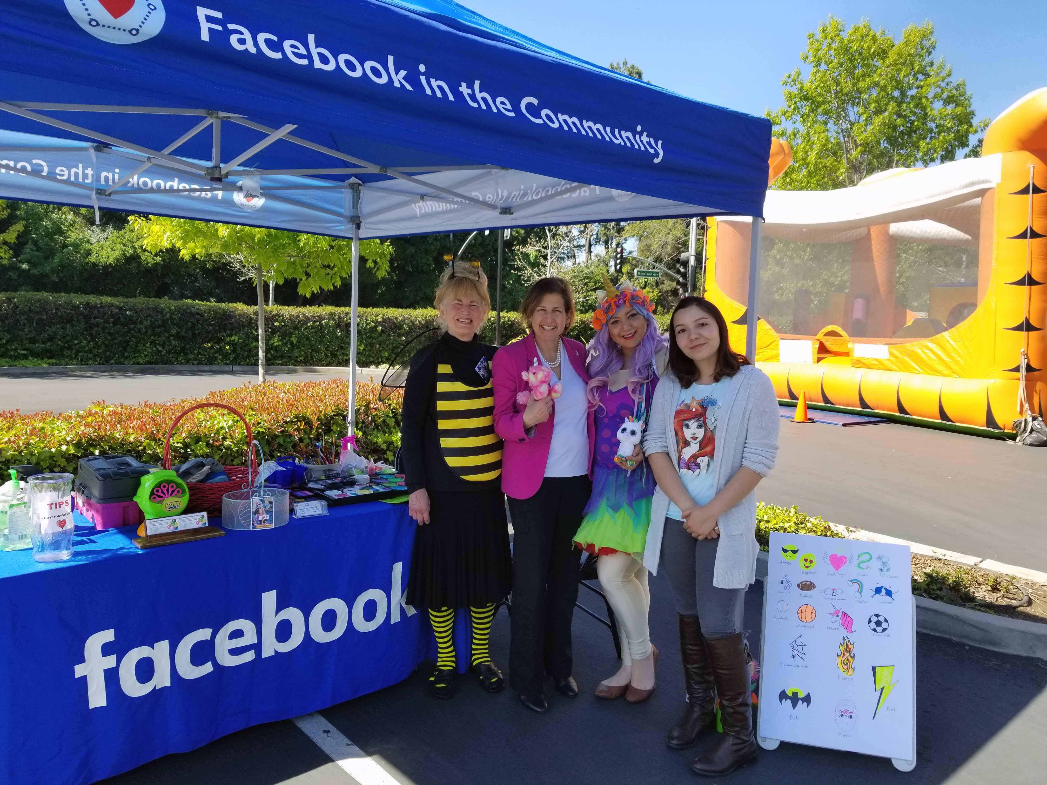 Taken with fellow face painters and Mayor of Millbrae at April 2018 Facebook Community Festival