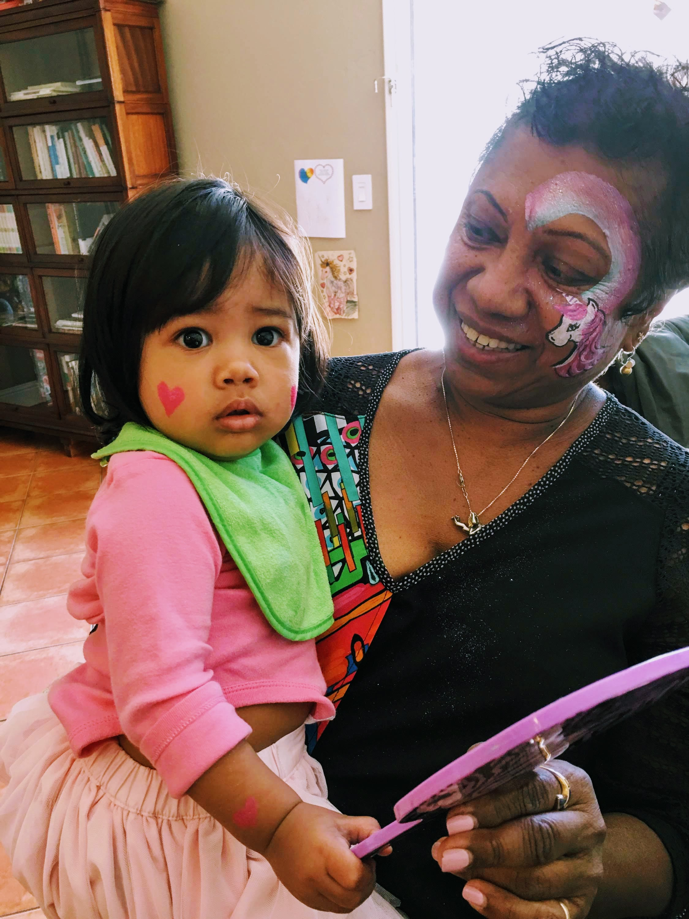 Baby and Grandma - first face paint
