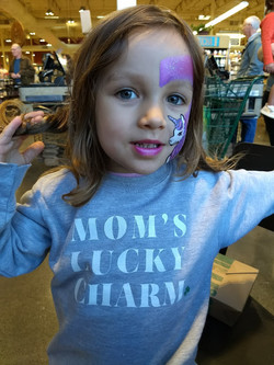 This girl wanted a puple unicorn to match her shirt