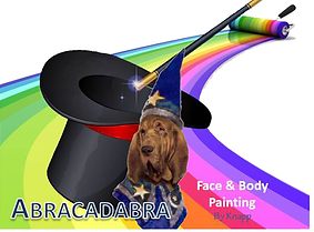 The Company Logo featuring Happi, the Magical Wizard Bloodhound, best friend and companion of the Artist.