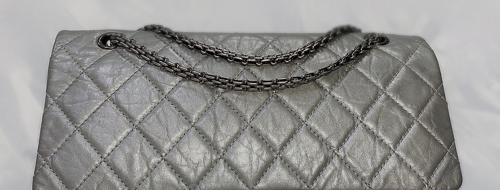 Chanel 2.55 Reissue Quilted Gray Aged Calfskin 227 Double Flap Bag