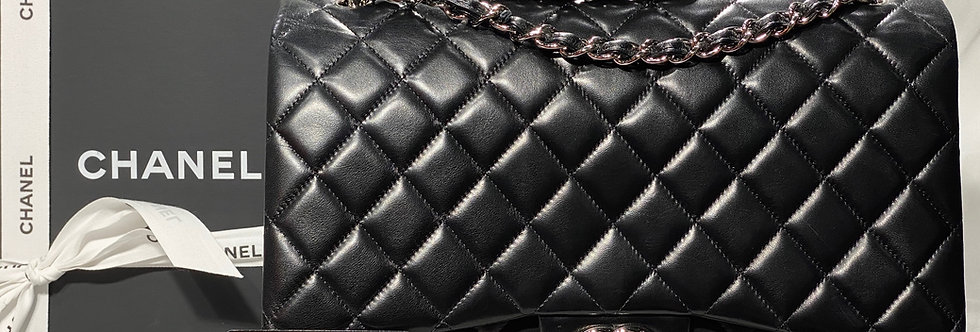 Chanel Black Lambskin Maxi Double Flap Bag