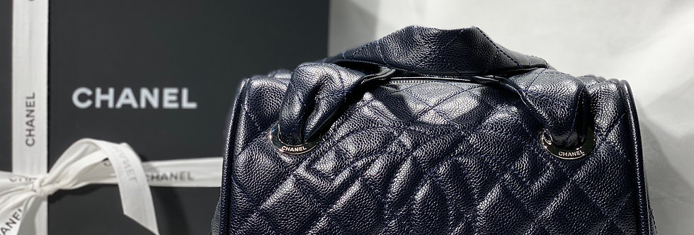 Chanel Super Dark Navy Blue (Almost Black) Caviar Timeless Bowler Small Tote Bag