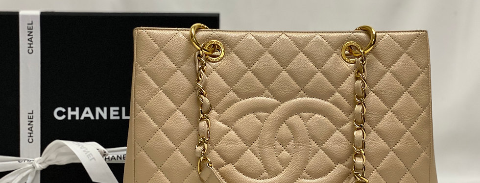 Chanel Beige Caviar Quilted Grand Shopping Tote GST