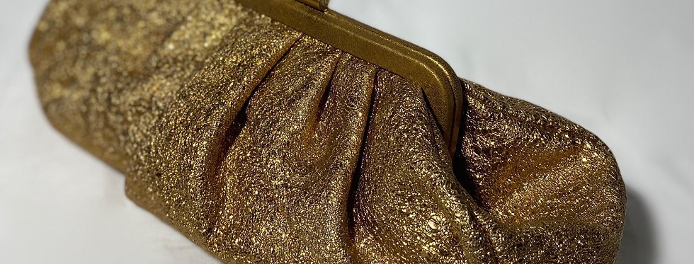 Chanel Gold Granulated Textured Leather Clutch Evening Bag