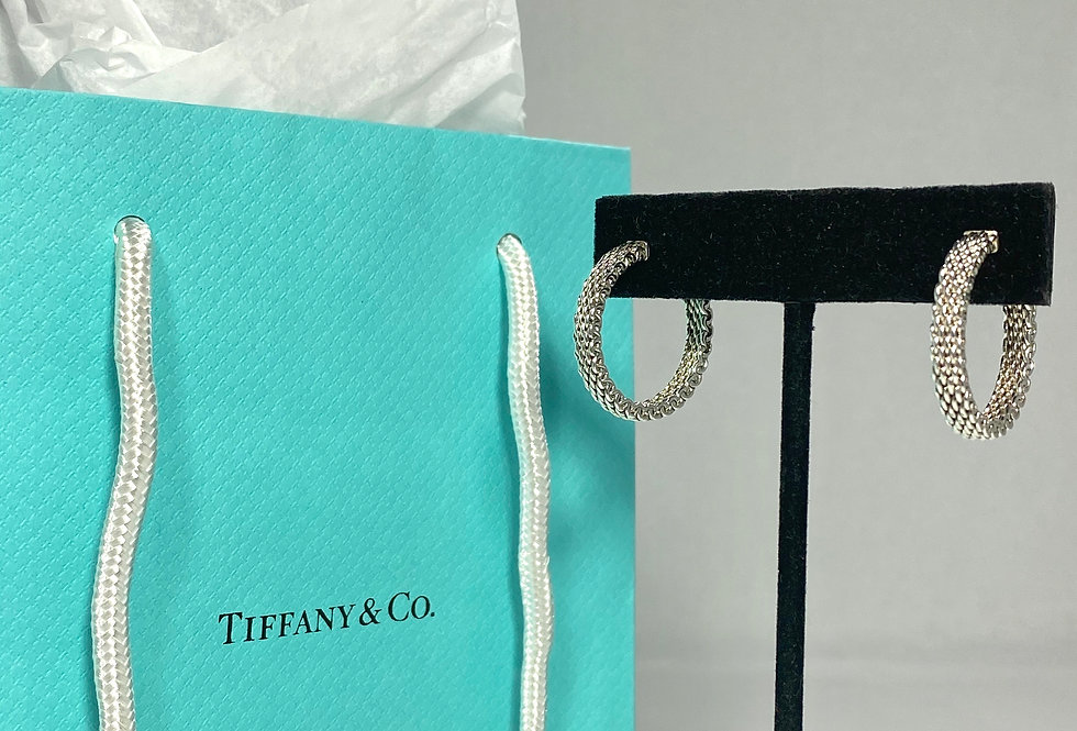 Tiffany & Co. Sterling Silver Somerset Mesh Hoop Earrings