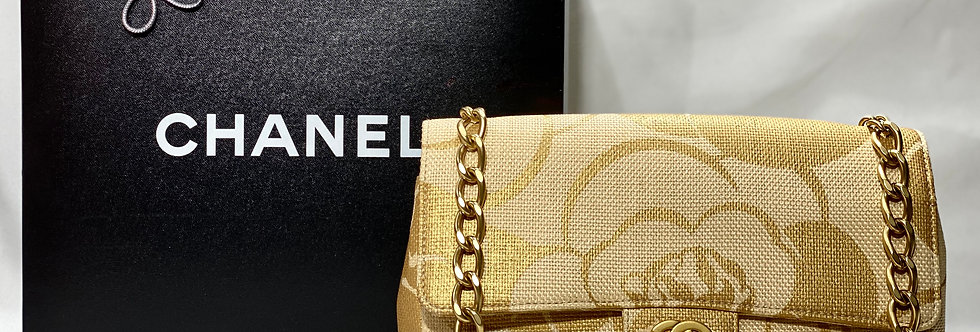 CHANEL Woven Straw Camellia Print Medium Single Flap Bag