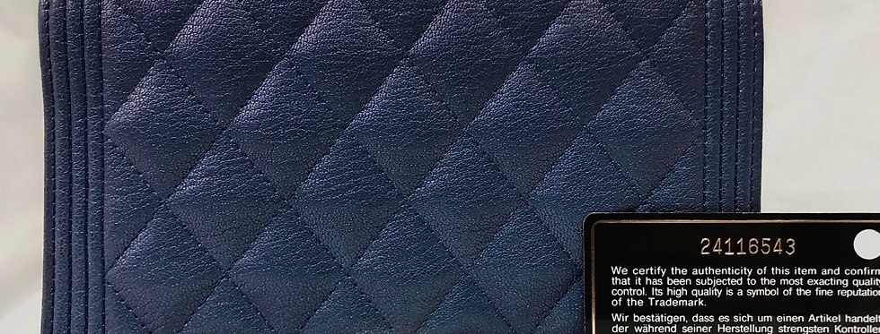 Chanel Iridescent Blue Goatskin Quilted Boy Wallet On Chain WOC