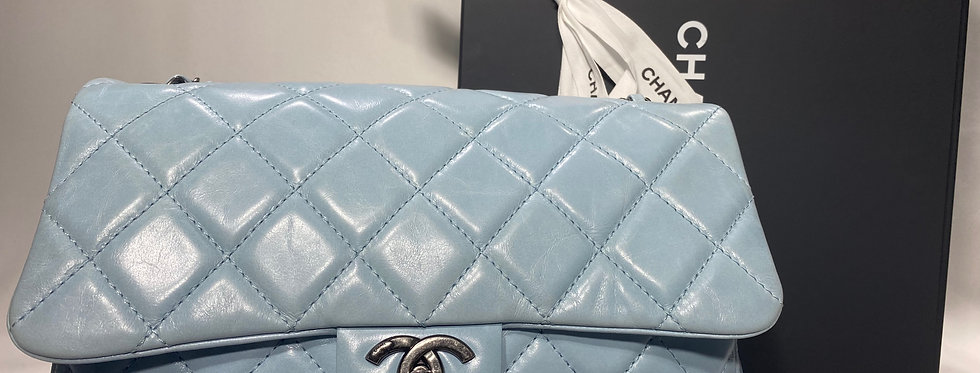 Chanel Distressed Quilted Calfskin Sky Blue Flap Bag