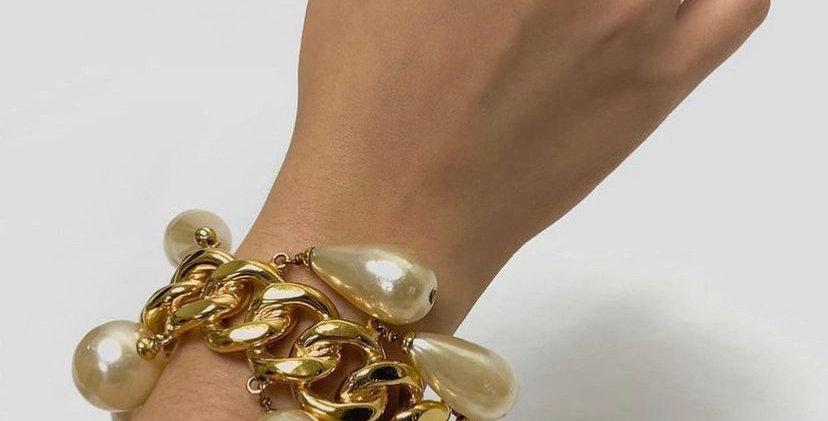 1980's Chanel Teardrop Pearl Chain Bangle