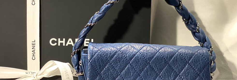 Chanel Classic Flap Lady Braid Quilted Small Blue Distressed Lambskin Shoulder