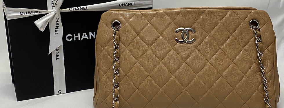 Chanel Beige Quilted Caviar Leather Shoulder Bag
