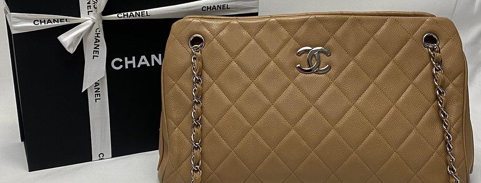 Chanel Beige Quilted Caviar Leather Shoulder Bag