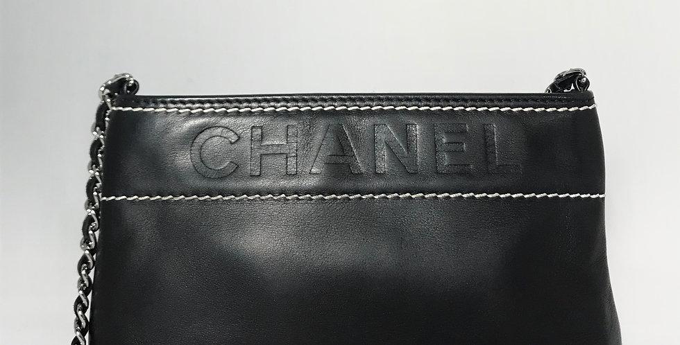 Chanel Black Lambskin LAX Pochette Bag