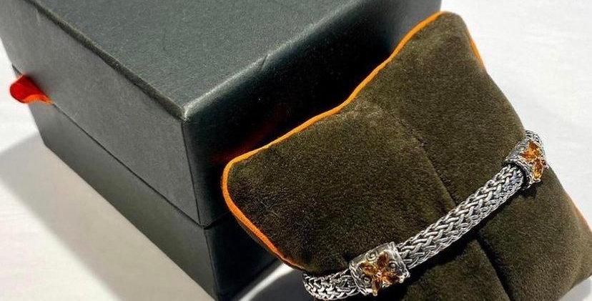 John Hardy Topaz Hammered Sterling Bracelet