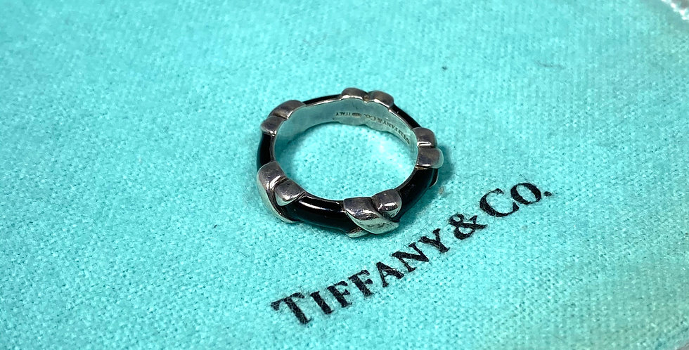 Tiffany & Co. Italy Sterling Silver and Black Enamel X Ring