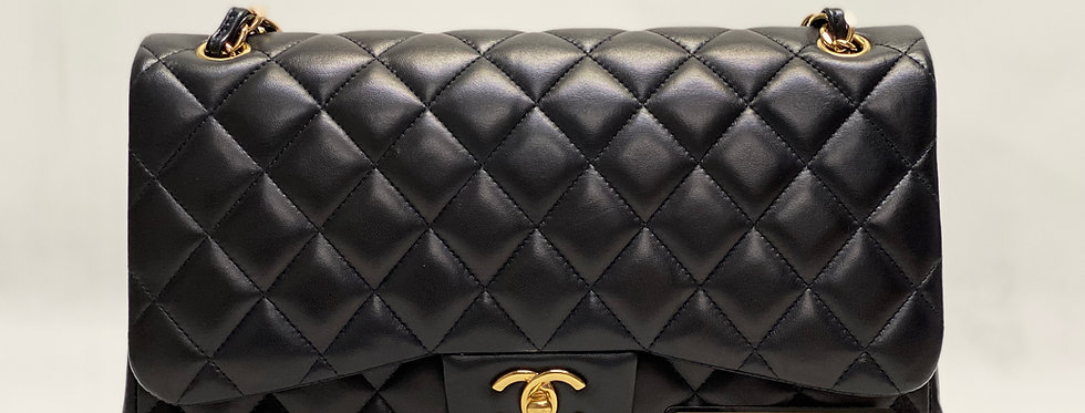 Chanel Black Lambskin Classic Jumbo Bag Gold Hardware