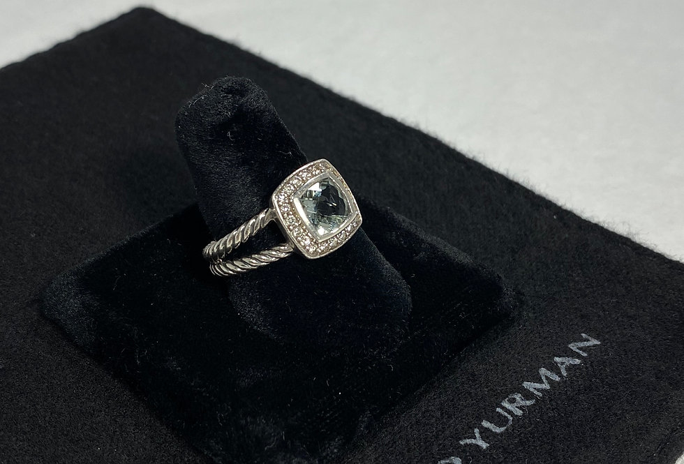 David Yurman Diamond & Blue Topaz Petite Albion Ring