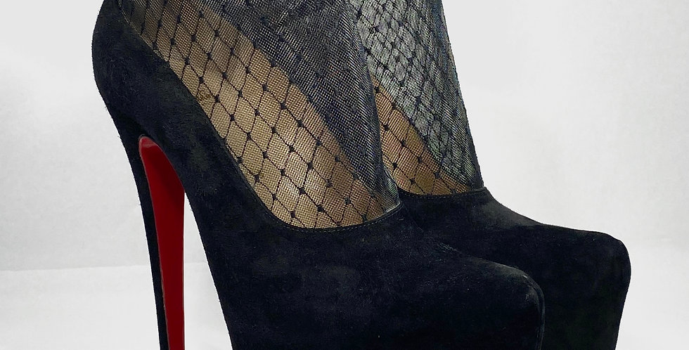 Christian Louboutin Resillissima Black Suede Mesh Platform Daf Ankle Boots 160