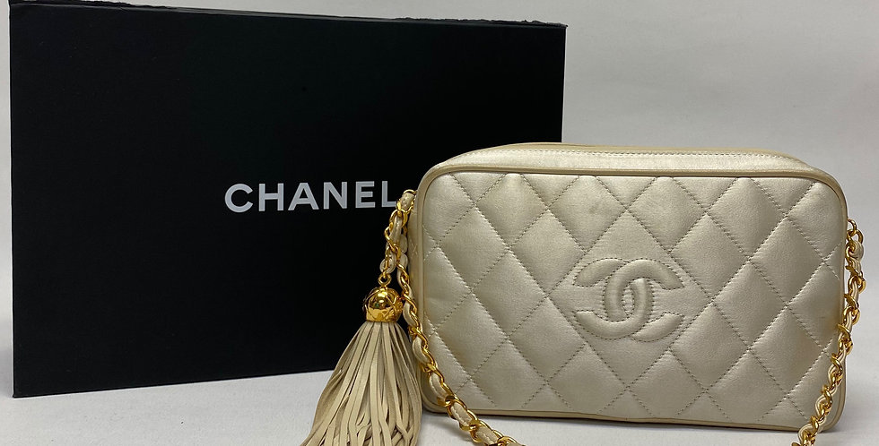 Chanel Ivory Quilted Satin Camera Bag