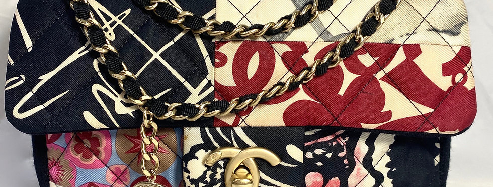 Chanel Small Classic Flap Patchwork Logo Printed Quilted Multicolor Fabric Cross