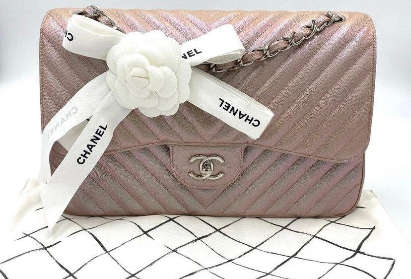 Chanel Irridescent Chevron Caviar Classic Jumbo Double Flag Bag