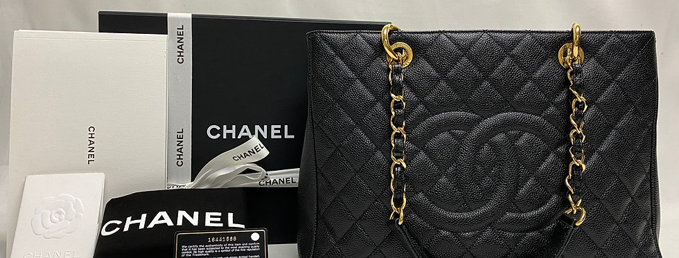 Chanel Black Caviar Quilted Grand Shopping Tote GST