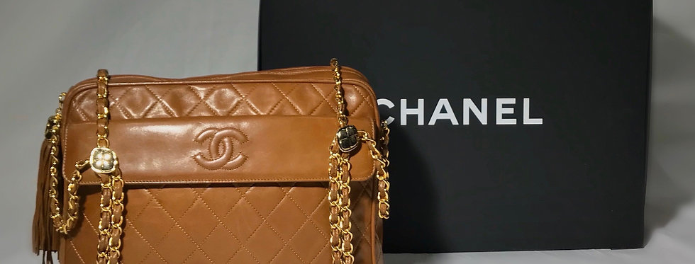 Chanel Vintage Large Lambskin Quilted CC Tassel Camera Bag with Flap