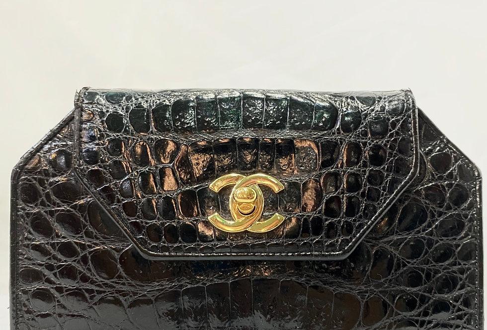 Chanel Black Alligator Leather 2 in 1 Mini Evening Clutch Shoulder Flap Bag