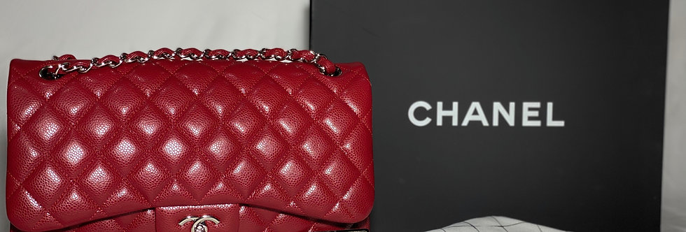 Chanel Lipstick Red Caviar Classic Jumbo Bag Silver Hardware