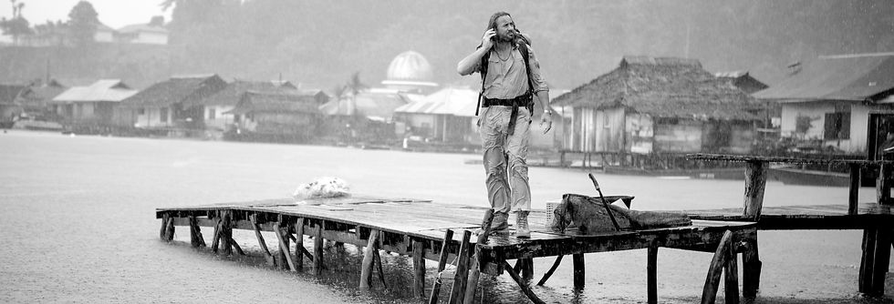 Richard Terry stood in the rain on a pier
