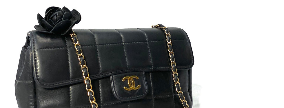 Chanel Square Quilt Camellia Mini Flap Crossbody Bag