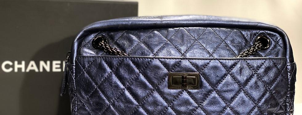 Chanel Dark Metallic Blue Reissue Classic Camera Case Bag Ruthenium Hardware
