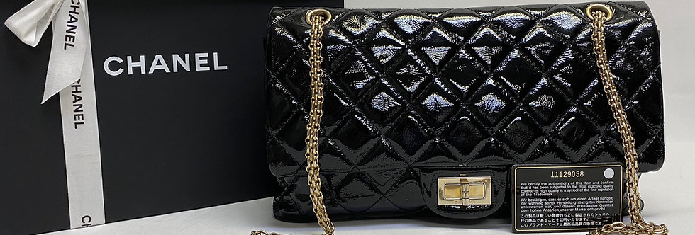 Chanel 2.55 Reissue Quilted Black Patent 227 Double Flap Bag