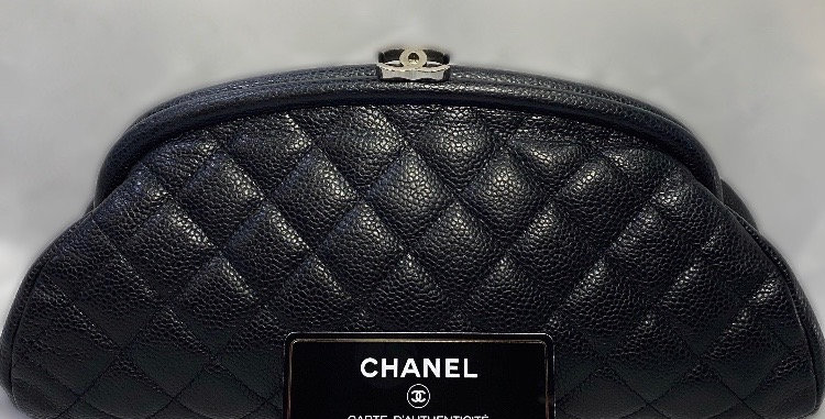 Chanel Black Caviar Quilted Timeless Kisslock Clutch Bag