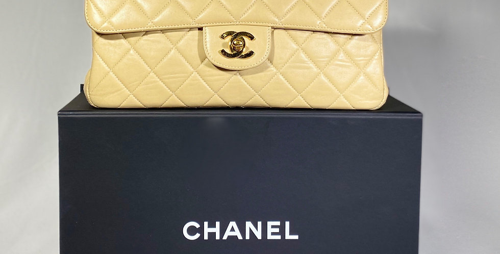 Chanel Beige Quilted Lambskin Leather Medium Double Sided Flap Bag
