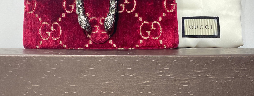 Gucci Dionysus GG Super Mini Red Velvet Dionysus Swarovski Crossbody Bag