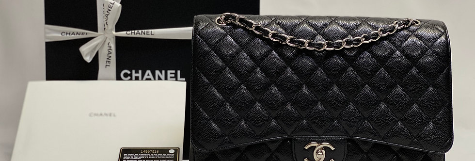 Chanel Black Caviar Classic Maxi Double Flap Bag Silver Hardware
