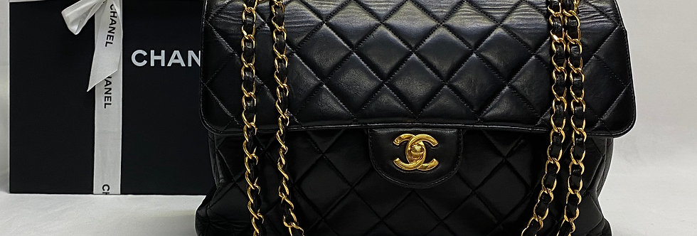 Chanel Black Lambskin Large Double Sided Black Flap Bag