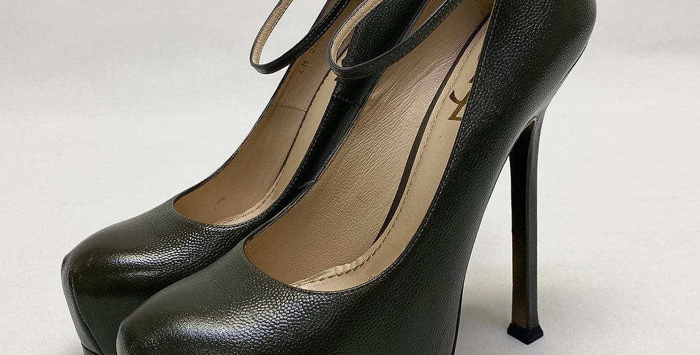 Yves Saint Laurent Ankle Strap Tribtoo Leather Platform Pumps