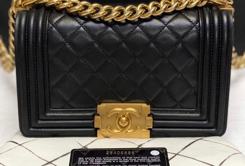 Chanel Small Lambskin Boy Bag with Gold Hardware