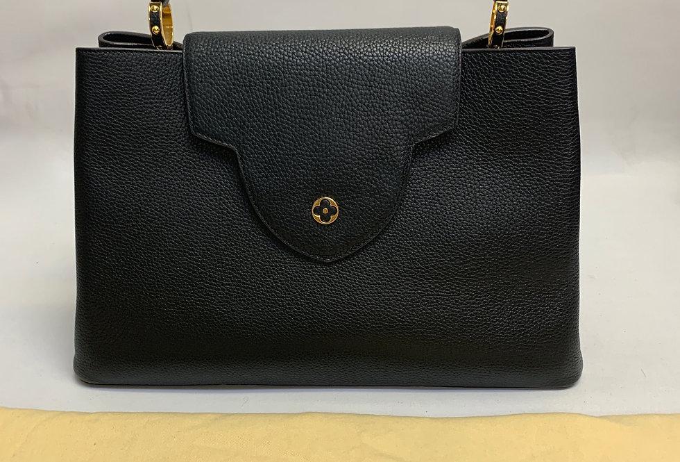 Louis Vuitton Black Taurillon Capucines GM