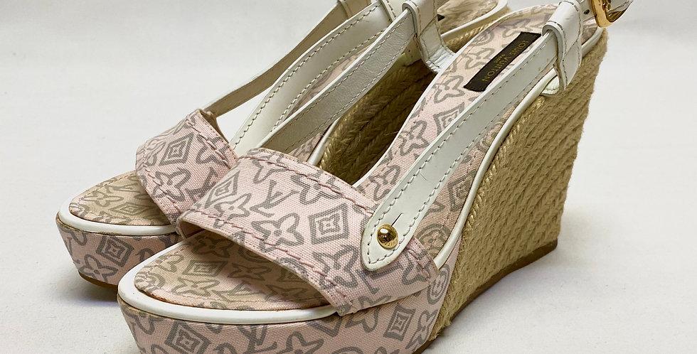 Louis Vuitton Leather LV Monogram Espadrille Sandal Wedges