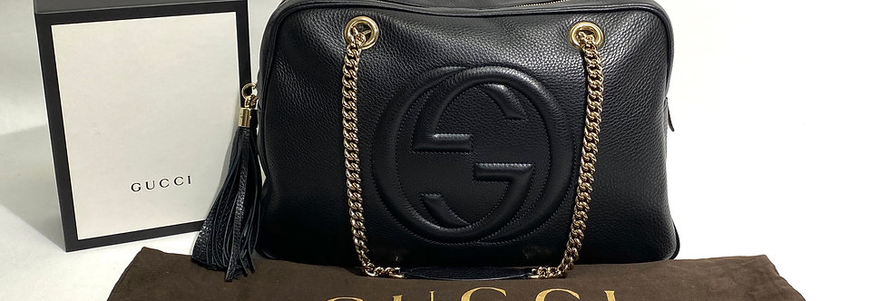 Gucci Soho Leather Chain Zippered Large Shoulder Bag